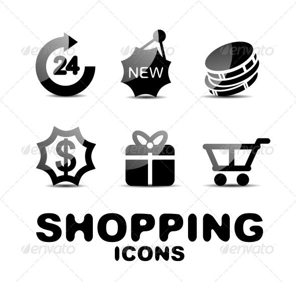 Black Glossy Shopping Icon Set - Web Technology