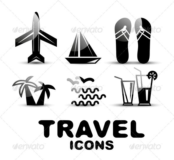 Black Glossy Travel Icon Set - Web Technology