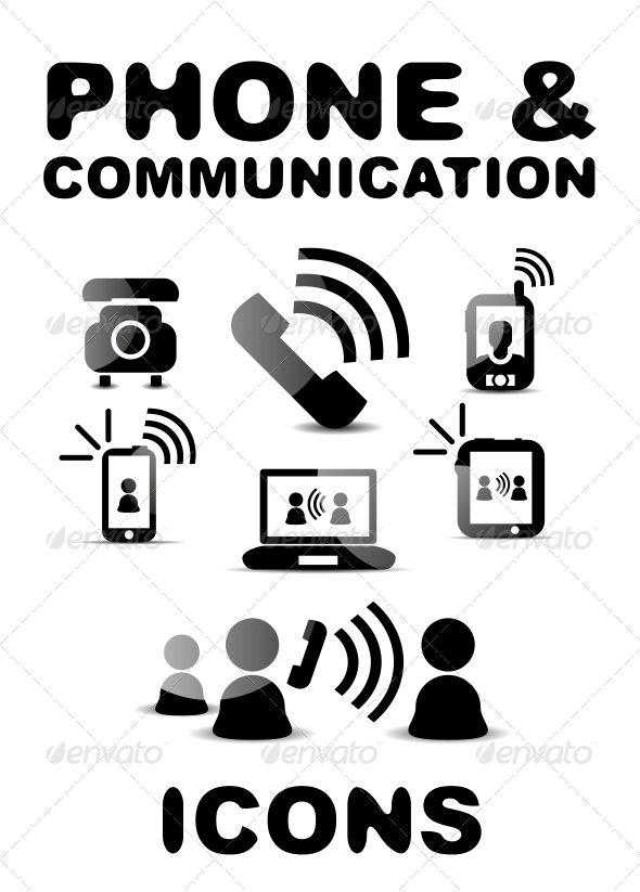 Black Glossy Phone / Communication Icon Set - Web Technology