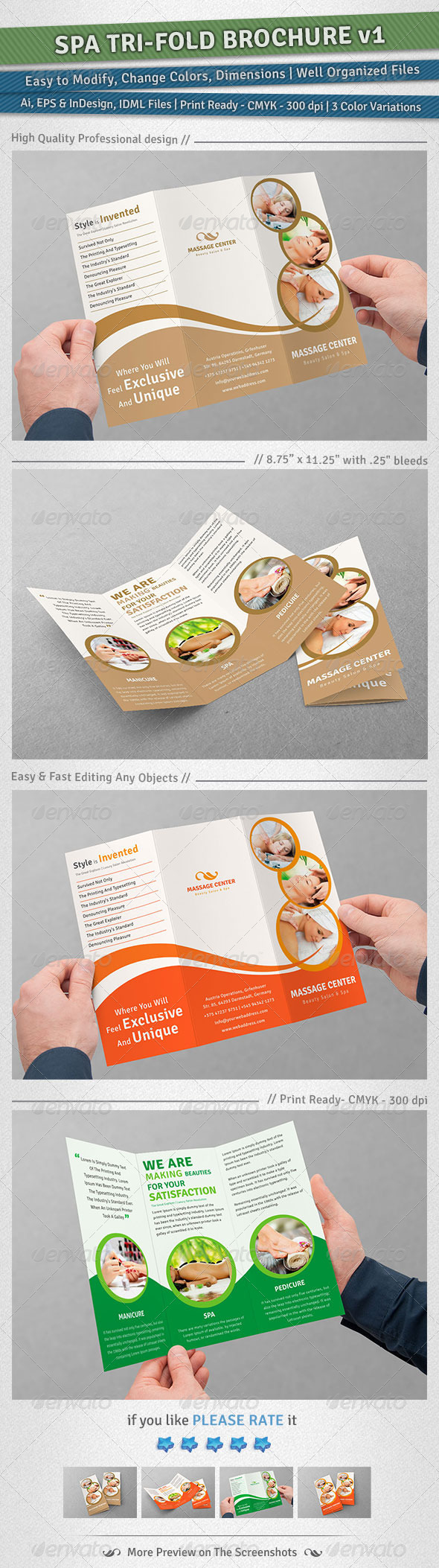 Spa Tri-Fold Brochure | Volume 1 - Corporate Brochures