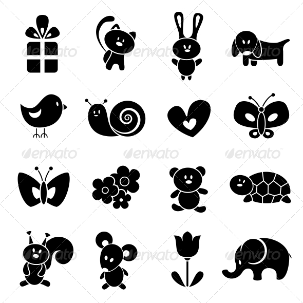 Baby Icon Set - Web Elements Vectors