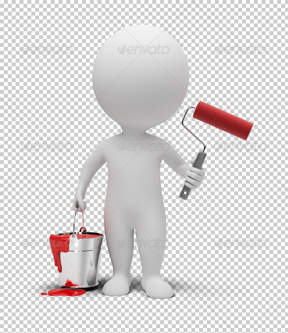 3d small people with paint roller - Characters 3D Renders