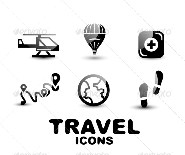 Black Glossy Travel Icon Set - Web Technology