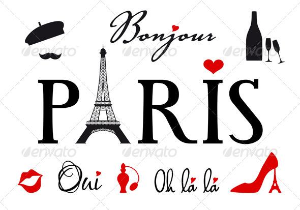Paris With Eiffel Tower Vector Set - Travel Conceptual