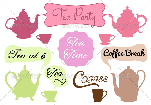 Tea Time Coffee Break Vector Set - Food Objects