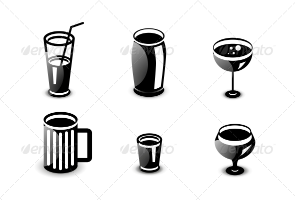 Glossy Drinks and Beverages Icon Set - Computers Technology