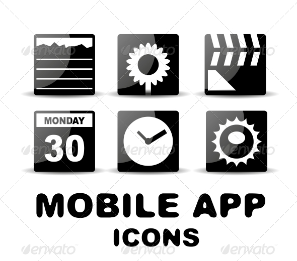 Black Glossy Square Mobile App Icons - Web Technology