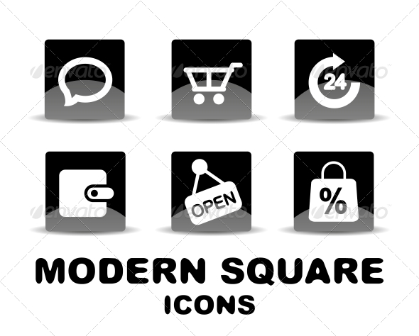 Modern Glossy Black Square Icon Set - Web Technology