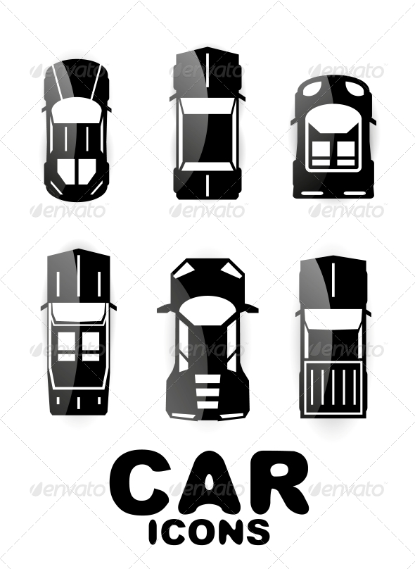 Black Glossy Car Icon Set - Web Technology