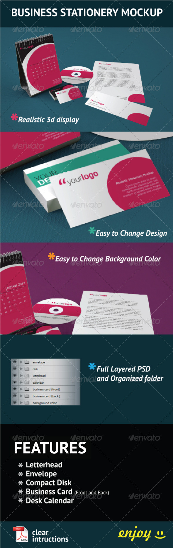 Business Stationery Mock Up - Stationery Print
