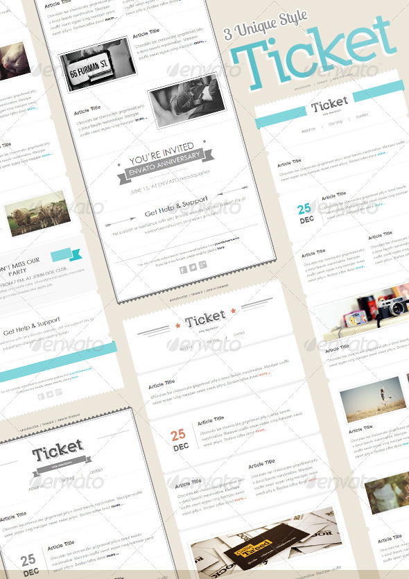 Ticket Mail - E-newsletters Web Elements