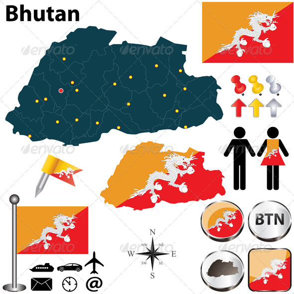 Map of Bhutan - Travel Conceptual