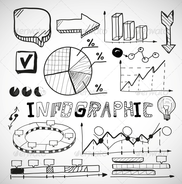 Infographic Business Graphs Doodles - Web Technology