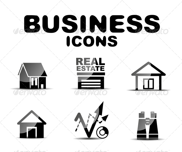 Black Glossy Business Icon Set - Web Technology