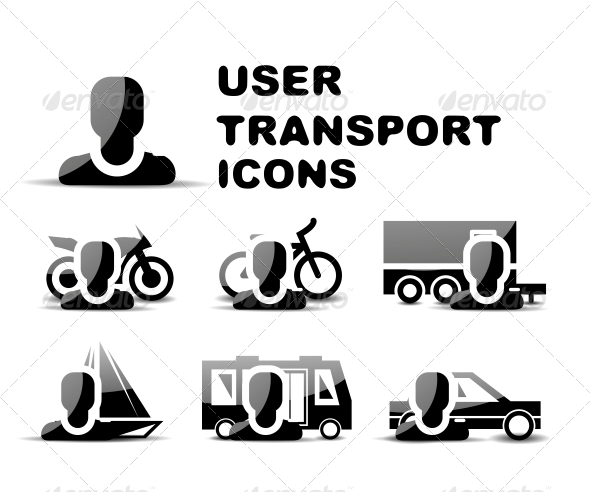 Black User Transport Glossy Icon Set - Web Technology