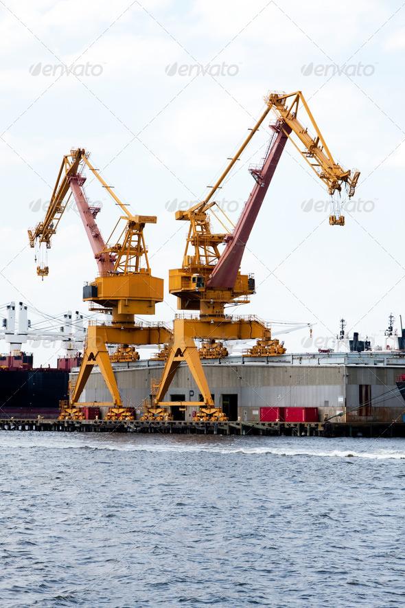 Heavy duty port crane - Stock Photo - Images