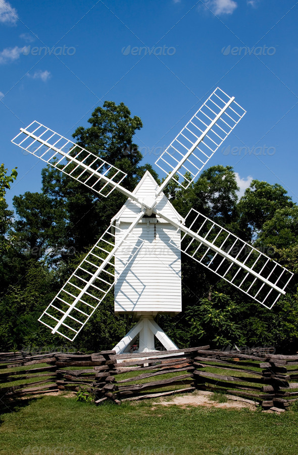 White windmill - Stock Photo - Images