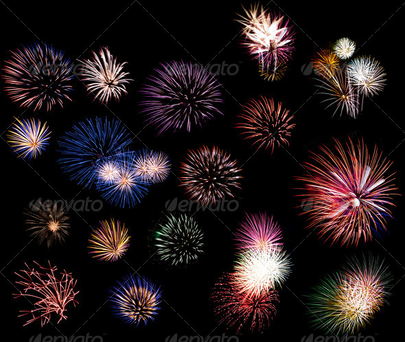 Fireworks collage - Stock Photo - Images