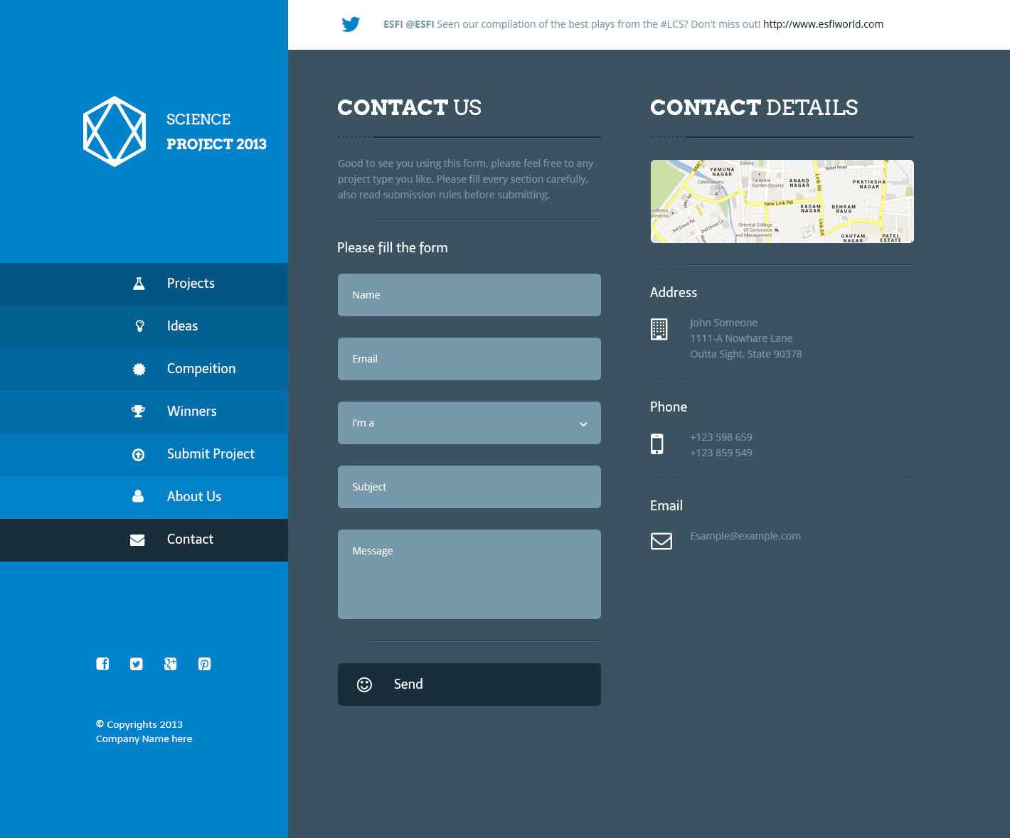 Science project psd template by azyrusmax themeforest for Contact us template free download