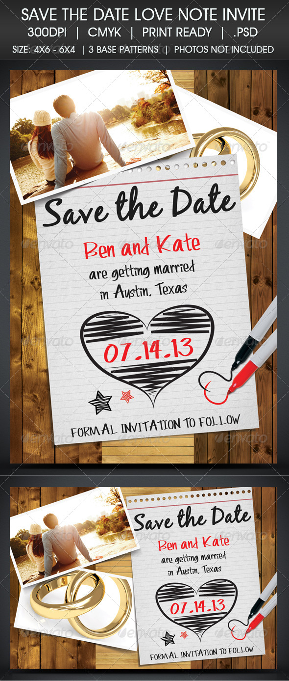 Save The Date Note Invitation - Cards & Invites Print Templates