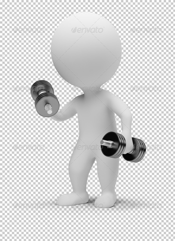 3d small people - dumbbells - Characters 3D Renders