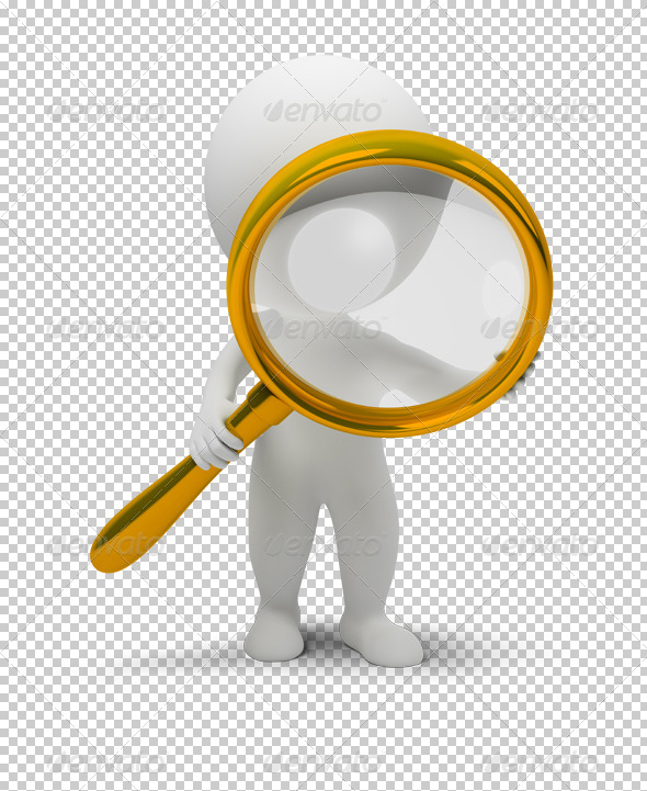 3d small people with a magnifier - Characters 3D Renders