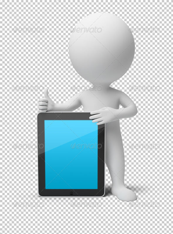 3d small people - tablet PC - Characters 3D Renders