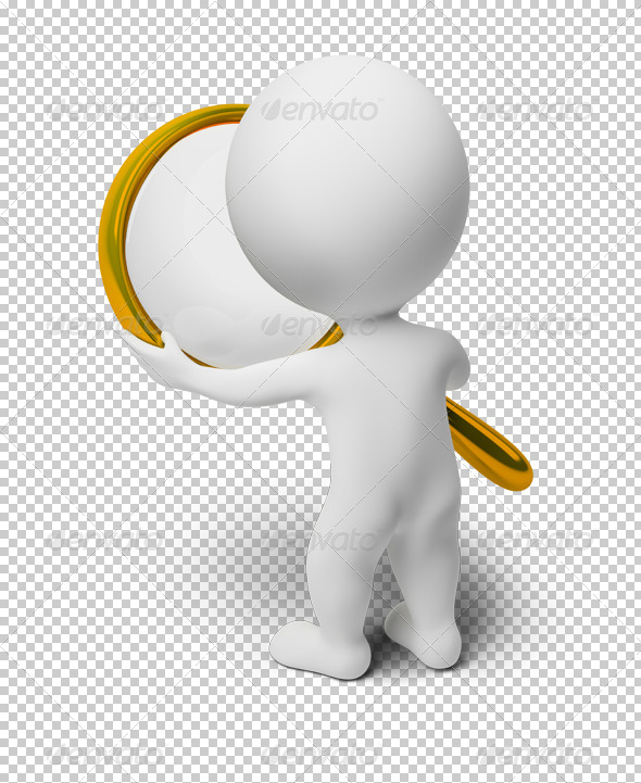 3d small people holds a magnifier - Characters 3D Renders