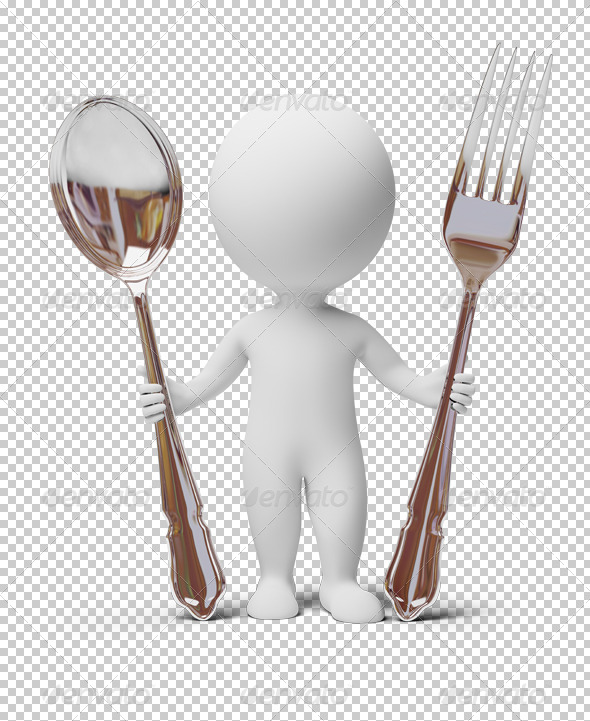 3d small people - fork and spoon - Characters 3D Renders