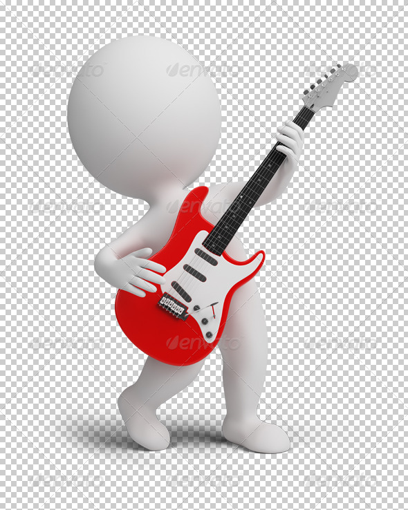 3d small people - electroguitar - Characters 3D Renders