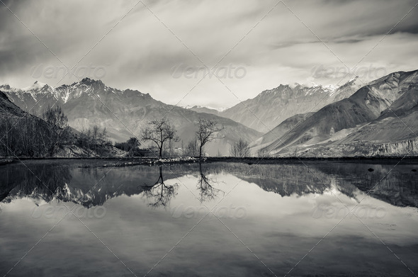 Trees and mountains reflection in still lake - Stock Photo - Images