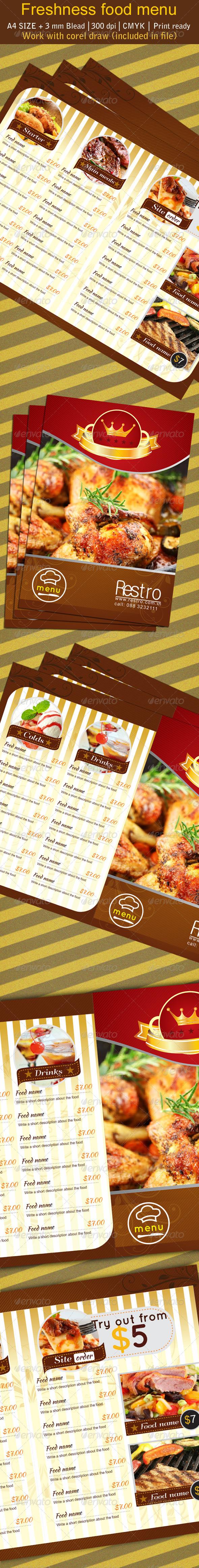 Freshness Restaurant Manu - Food Menus Print Templates