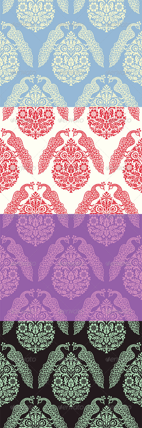 Birds On Tree Seamless Pattern - Patterns Decorative