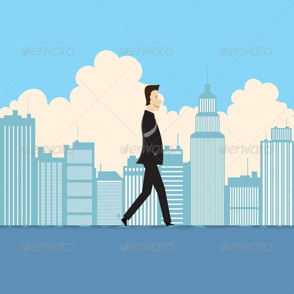 Businessman Walking on Water - Concepts Business