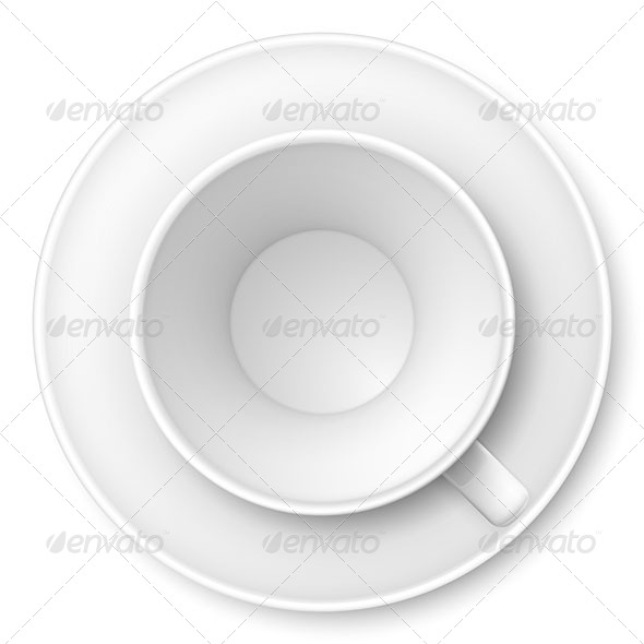 White Mug and Saucer - Food Objects