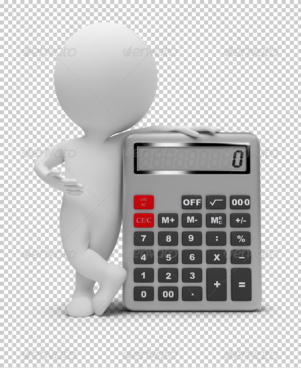 3d small people - calculator - Characters 3D Renders