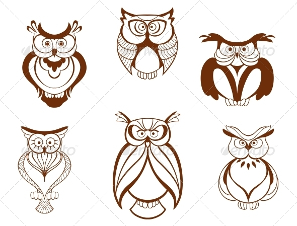 Set of Cartoon Owl Birds - Animals Characters