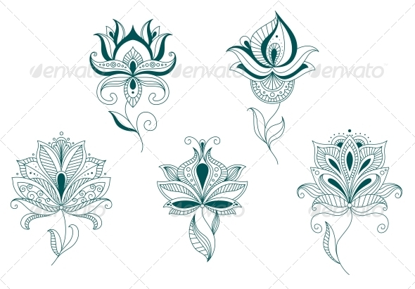 Abstract Flower Blossoms Set - Flourishes / Swirls Decorative