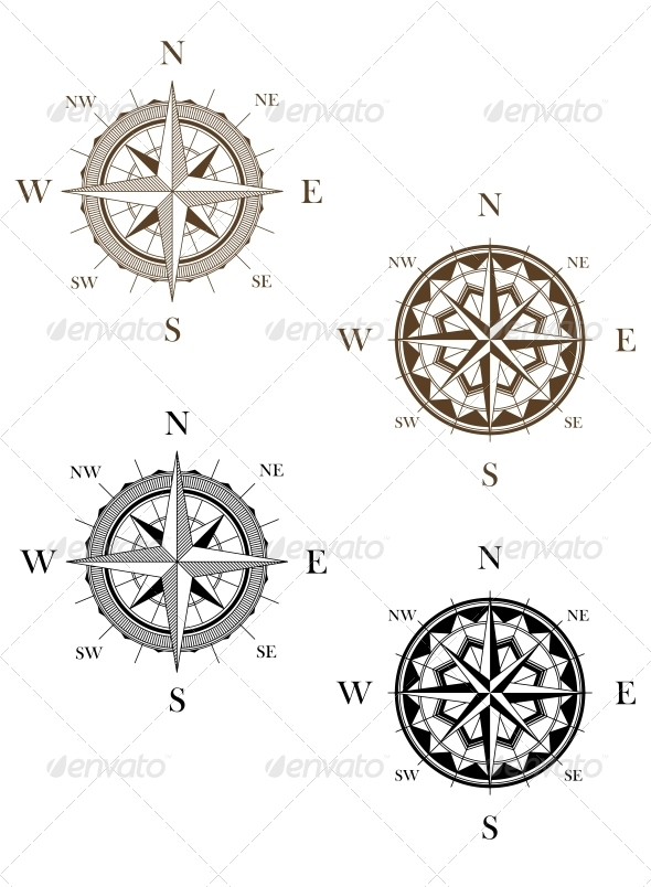 Set of Vintage Compass Signs - Travel Conceptual