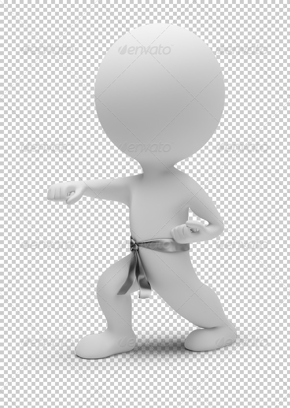 3d small people - karate - Characters 3D Renders