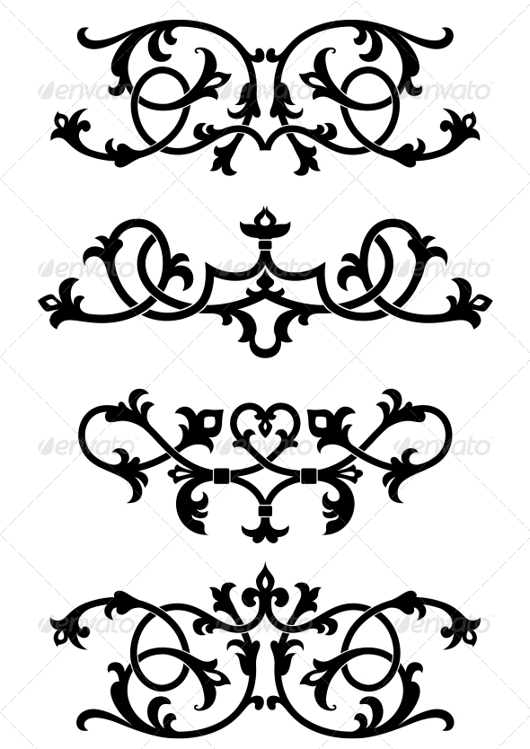 Vintage Floral Patterns and Elements - Flourishes / Swirls Decorative