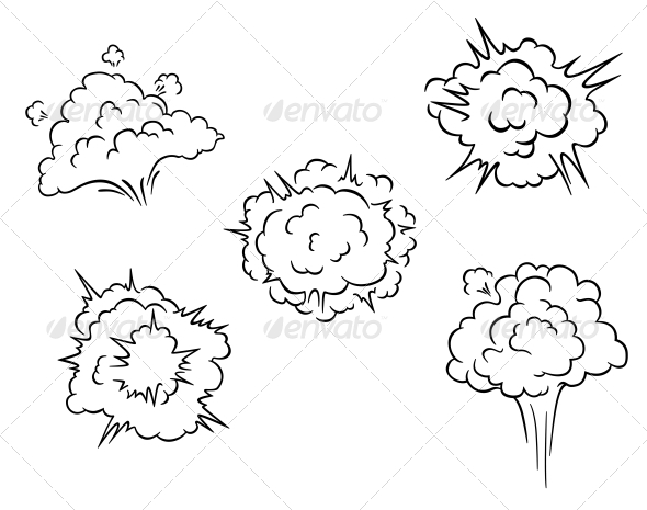 Cartoon Clouds and Explosions - Miscellaneous Vectors