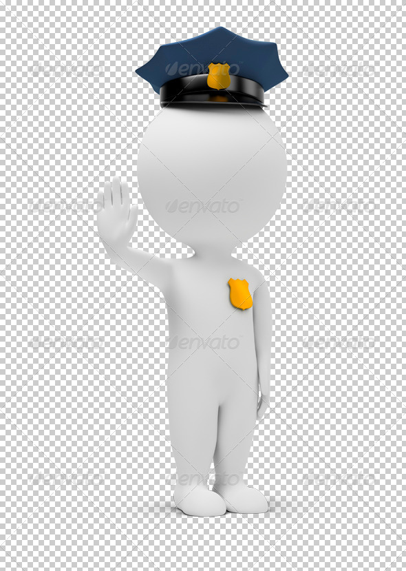 3d small people - policeman - Characters 3D Renders