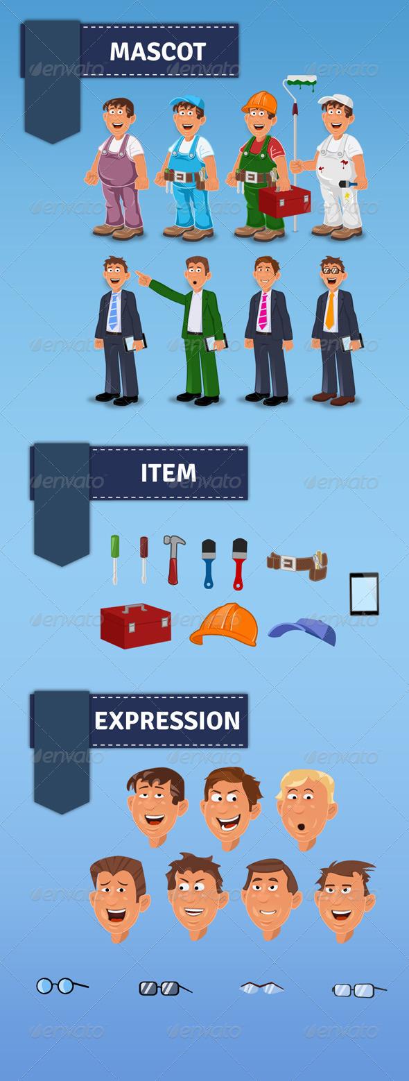 Handyman Manager Mascot - Characters Illustrations