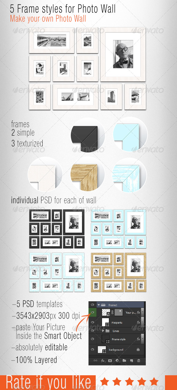 5 Frame Styles for Photo Wall - Photo Templates Graphics