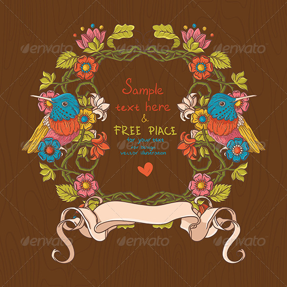 Vector Floral Illustration with Birds And Flowers - Decorative Symbols Decorative
