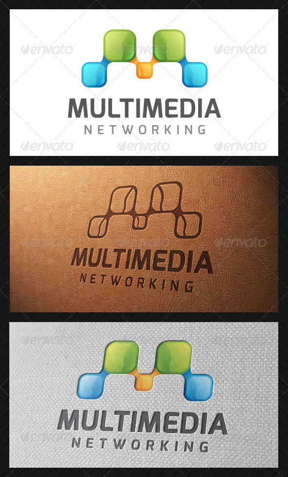 Multimedia Letter M Logo Template - Letters Logo Templates