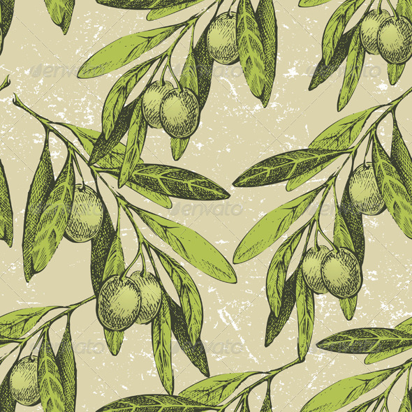 Seamless Ornament with Olive Branches - Patterns Decorative