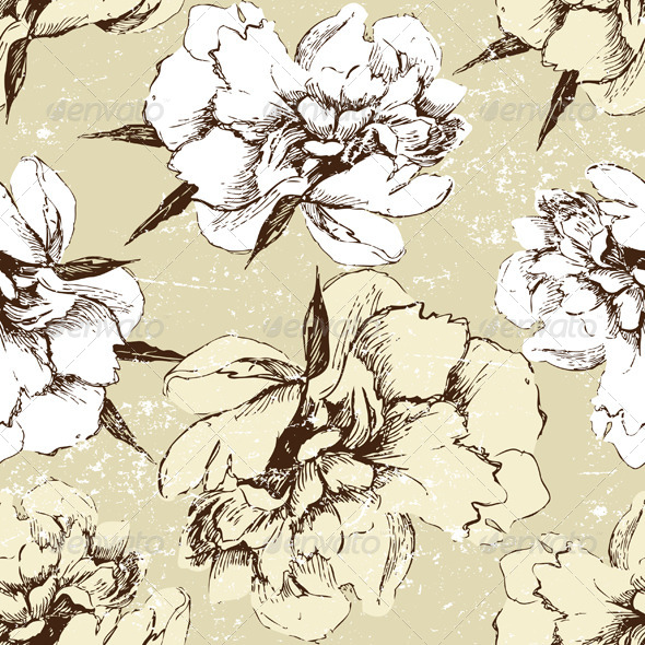 Seamless Ornament with Peony Flowers - Patterns Decorative