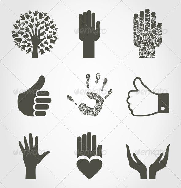 Set of Hands4 - Miscellaneous Vectors